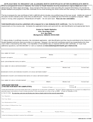 "Form ADPH-HS-103 ""Application to Request an Alabama Birth Certificate After Surrogate Birth"" - Alabama"