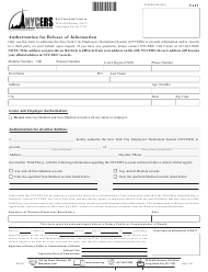 """Form F615 """"Authorization for Release of Information"""" - New York City"""