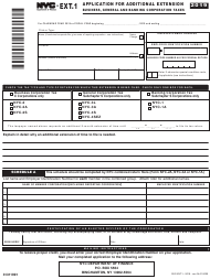 "Form NYC-EXT.1 ""Application for Additional Extension"" - New York City, 2019"
