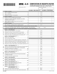 "Form NYC-2.5 ""Computation of Receipts Factor"" - New York City"