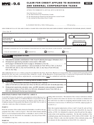 """Form NYC-9.6 """"Claim for Credit Applied to Business and General Corporation Taxes"""" - New York City, 2019"""