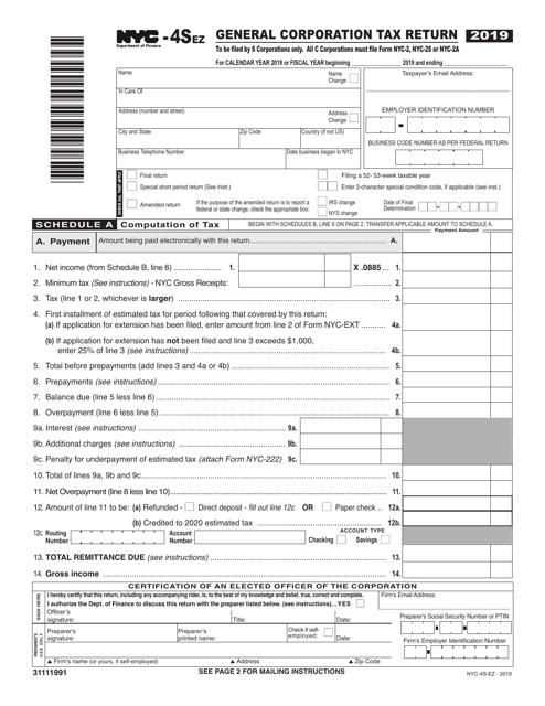 Form NYC-4S-EZ 2019 Printable Pdf
