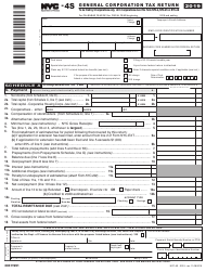 "Form NYC-4S ""General Corporation Tax Return"" - New York City, 2019"