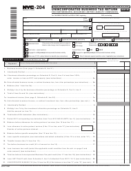 """Form NYC-204 """"Unincorporated Business Tax Return for Partnerships (Including Limited Liability Companies)"""" - New York City, 2019"""