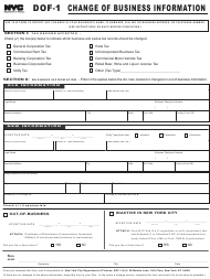 "Form DOF-1 ""Change of Business Information"" - New York City, 2019"