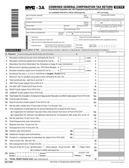 Form NYC-3A 2019 Printable Pdf