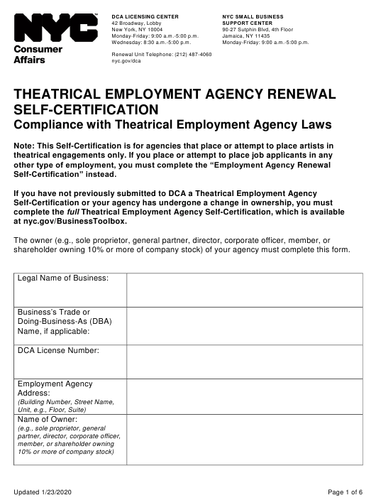 """""""Theatrical Employment Agency Renewal Self-certification"""" - New York City Download Pdf"""