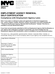 """Employment Agency Renewal Self-certification"" - New York City"