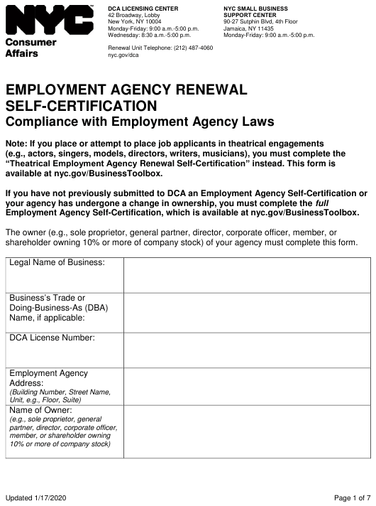 """Employment Agency Renewal Self-certification"" - New York City Download Pdf"