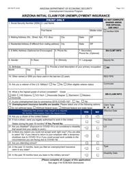 "Form UB-105 ""Arizona Initial Claim for Unemployment Insurance"" - Arizona"