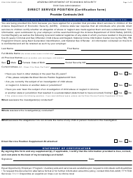 "Form CCA-1212A ""Direct Service Position (Certification Form)"" - Arizona"