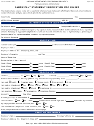 "Form FAA-1111A ""Participant Statement Verification Worksheet"" - Arizona"