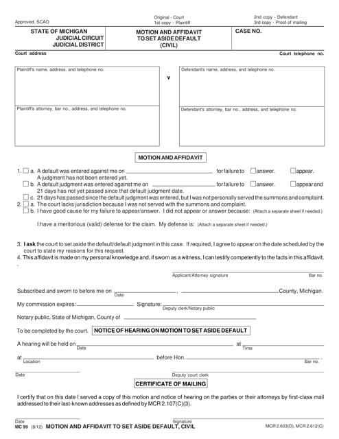 Form MC99 Printable Pdf