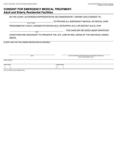 Form LIC627C  Printable Pdf