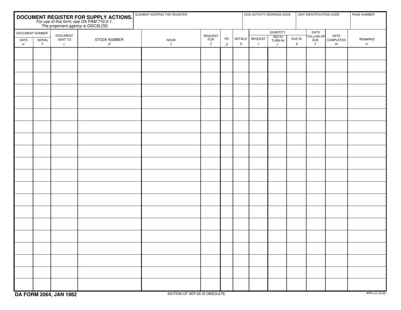 DA Form 2064  Fillable Pdf