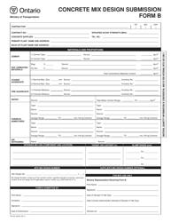 """Form B (PH-CC-433 B) """"Concrete Mix Design Submission"""" - Ontario, Canada"""