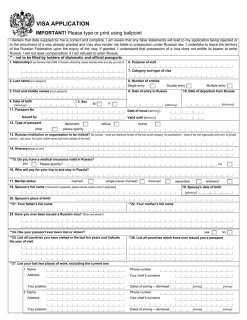 Russian Visa Application Form Download Fillable Pdf Templateroller