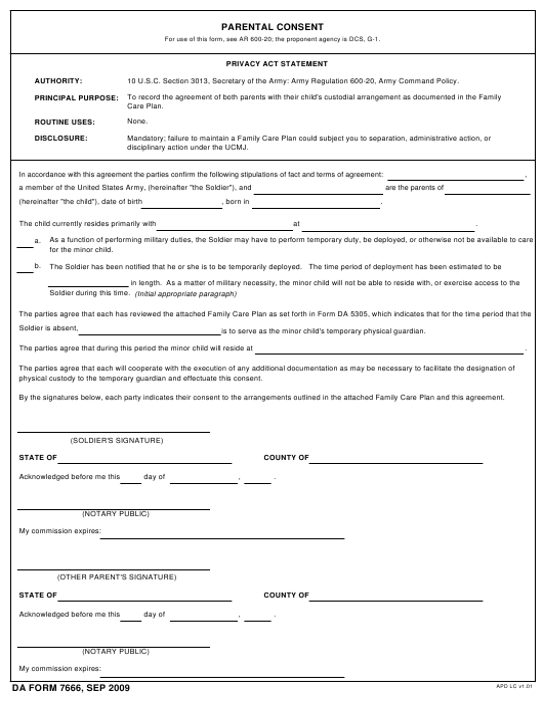 DA Form 7666  Fillable Pdf