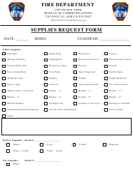 """Supplies Request Form"" - New York City"