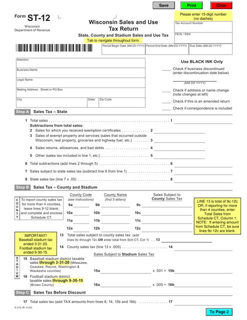 Form ST-12 Printable Pdf