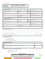 """VT Form IN-110 """"Change of Name and/or Address for Personal Income and/or Renter Rebate Claim"""" - Vermont"""