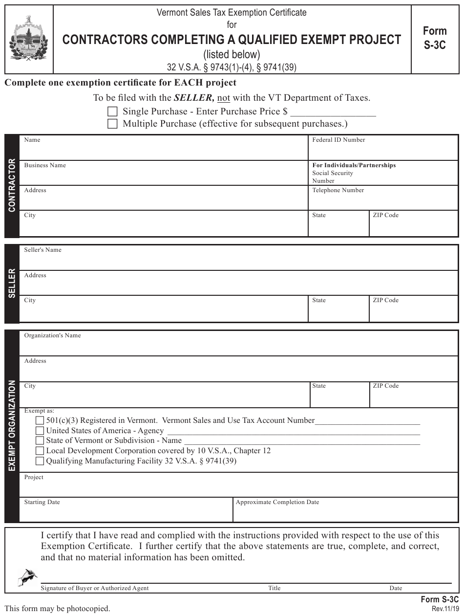 tax exempt form certificate exemption sales vermont completing printable template contractors templateroller qualified 3c fill