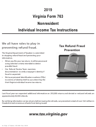 """Instructions for Form 763 """"Nonresident Individual Income Tax Return"""" - Virginia, 2019"""