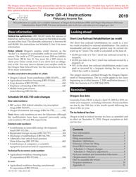 "Instructions for Form OR-41, 150-101-041 ""Oregon Fiduciary Income Tax Return"" - Oregon, 2019"