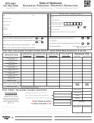 """OTC Form 901 """"Business Personal Property Rendition"""" - Oklahoma, 2020"""