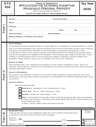 """OTC Form 930 """"Application for Veterans Exemption Household Personal Property"""" - Oklahoma, 2020"""