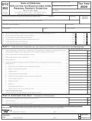 """OTC Form 952 """"Application for Manufactured Home Personal Property Exemption"""" - Oklahoma, 2020"""