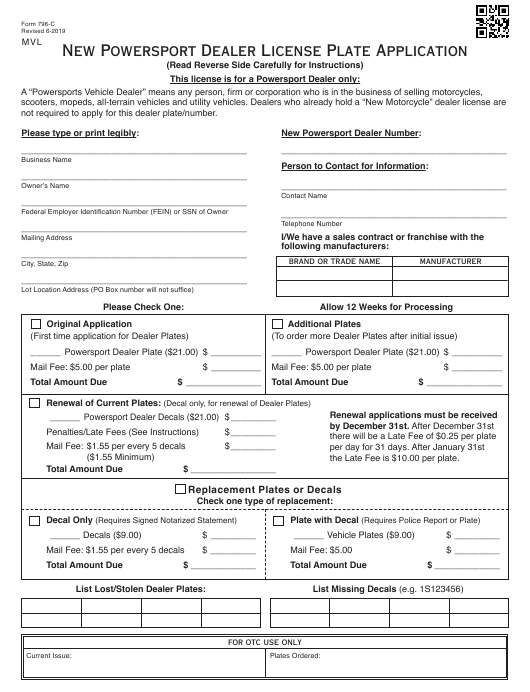 Form 796 C Download Fillable Pdf Or Fill Online New Powersport Dealer License Plate Application Oklahoma Templateroller