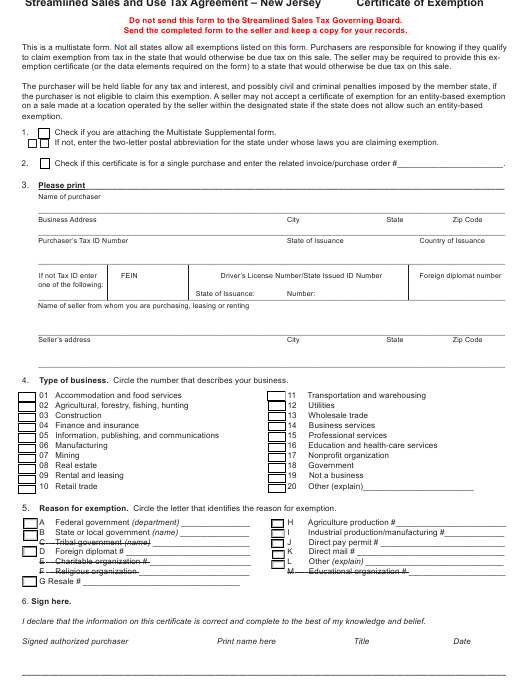 """""""Streamline Sales & Use Tax Agreement - Certificate of Exemption"""" - New Jersey Download Pdf"""