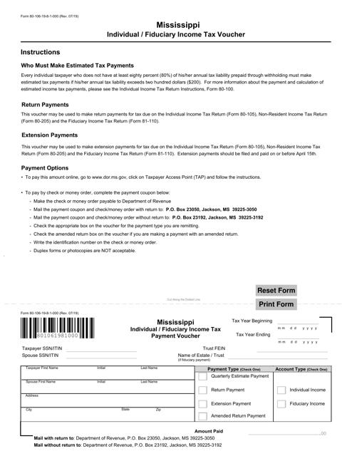 Form 80-106  Printable Pdf