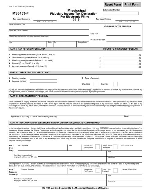 Form MS8453-F (81-115) 2019 Printable Pdf