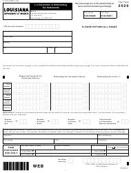 "Form L-3 (R-1203) ""Transmittal of Withholding Tax Statements"" - Louisiana, 2020"