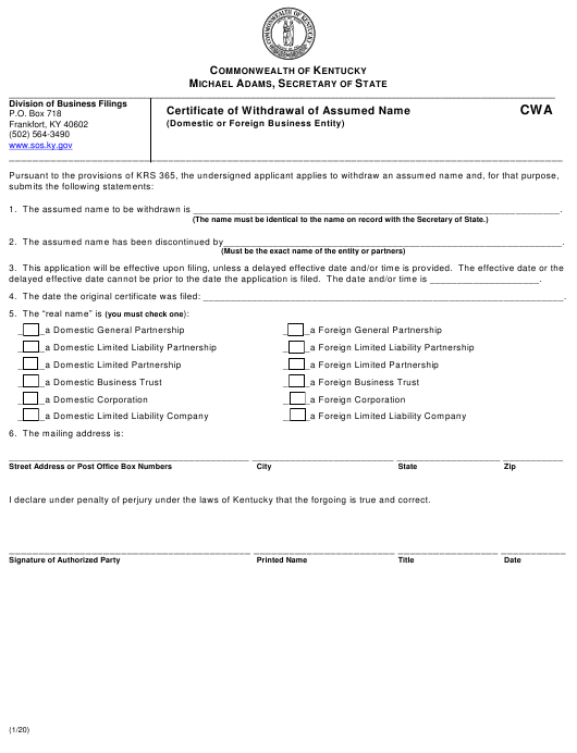 """""""Certificate of Withdrawal of Assumed Name (Domestic or Foreign Business Entity)"""" - Kentucky Download Pdf"""