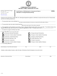 """""""Certificate of Withdrawal of Assumed Name (Domestic or Foreign Business Entity)"""" - Kentucky"""