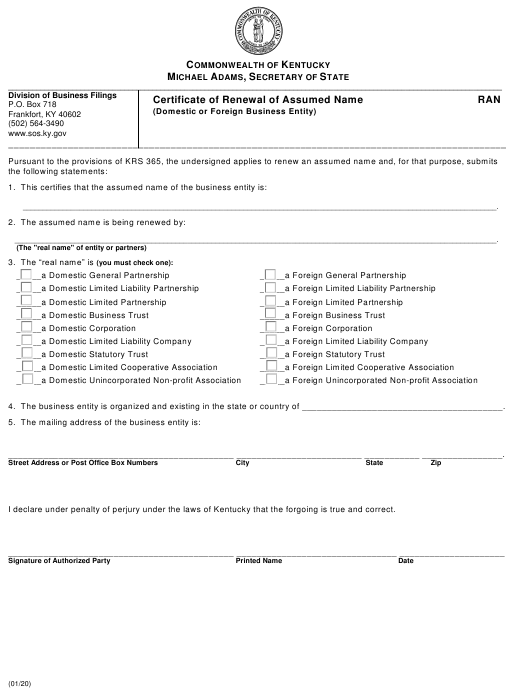 """""""Certificate of Renewal of Assumed Name (Domestic or Foreign Business Entity)"""" - Kentucky Download Pdf"""