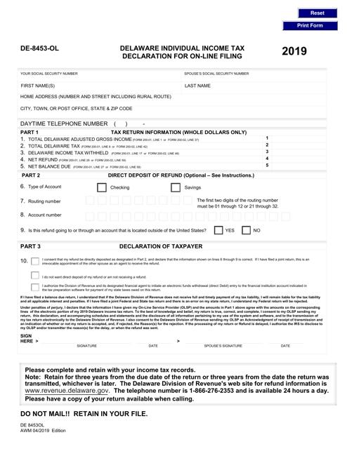Form DE-8453-OL 2019 Printable Pdf