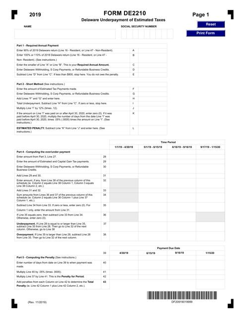 Form DE2210 2019 Printable Pdf