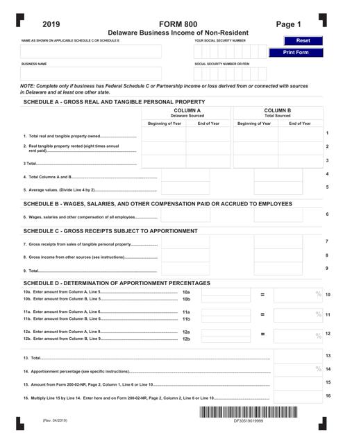 Form 800 2019 Printable Pdf