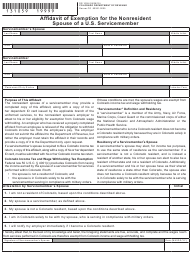 """Form DR1059 """"Affidavit of Exemption for the Nonresident Spouse of a U.S. Servicemember"""" - Colorado"""
