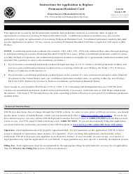 """Instructions for USCIS Form I-90 """"Application to Replace Permanent Resident Card"""""""