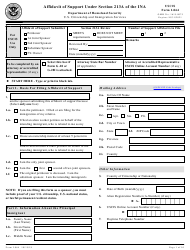 "USCIS Form I-864 ""Affidavit of Support Under Section 213a of the Ina"""