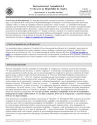 """Instrucciones para USCIS Formulario I-9 """"Verificacion De Elegibilidad De Empleo"""" (Spanish)"""