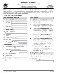 "USCIS Form I-485 Supplement A ""Adjustment of Status Under Section 245(I)"""