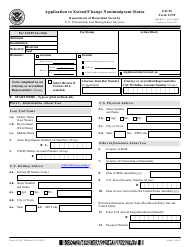 """USCIS Form I-539 """"Application to Extend/Change Nonimmigrant Status"""""""