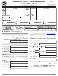 """USCIS Form I-601 """"Application for Waiver of Grounds of Inadmissibility"""""""