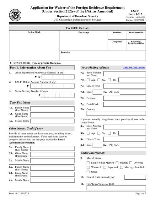 USCIS Form I-612  Printable Pdf